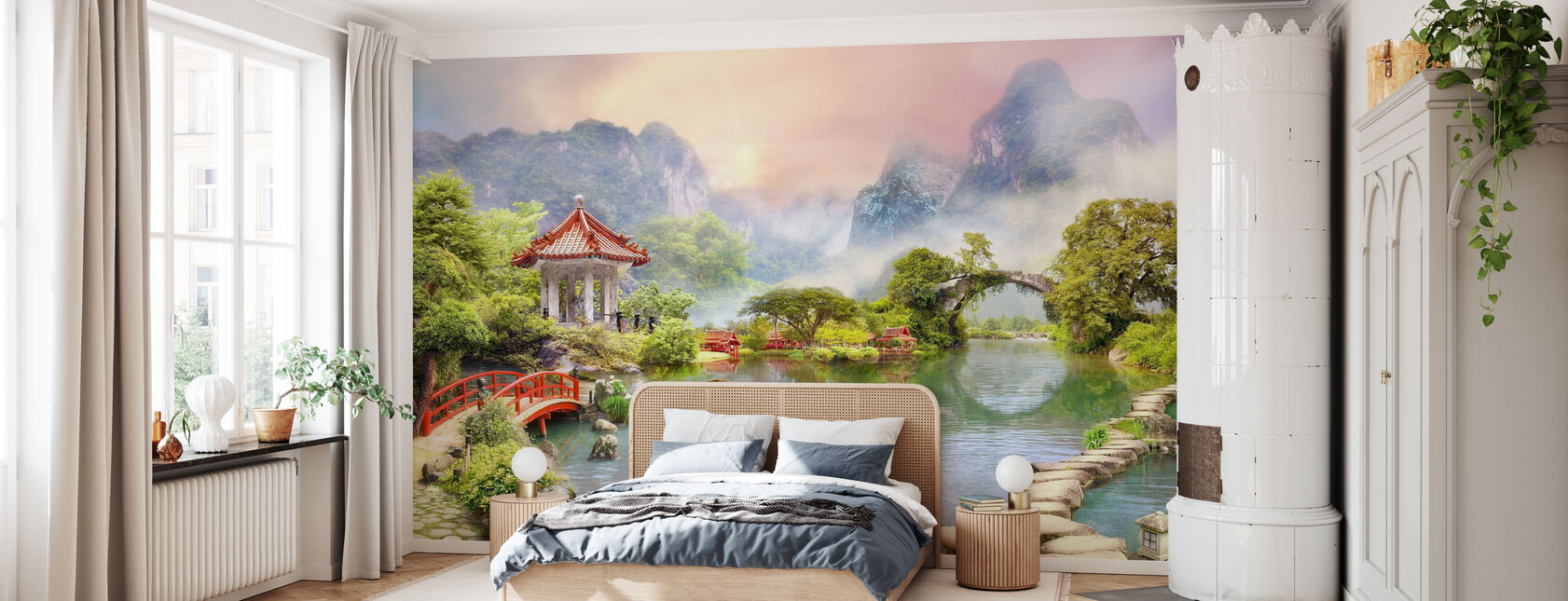 Tempel in Misty Mountains - Wallpaper - Bedroom