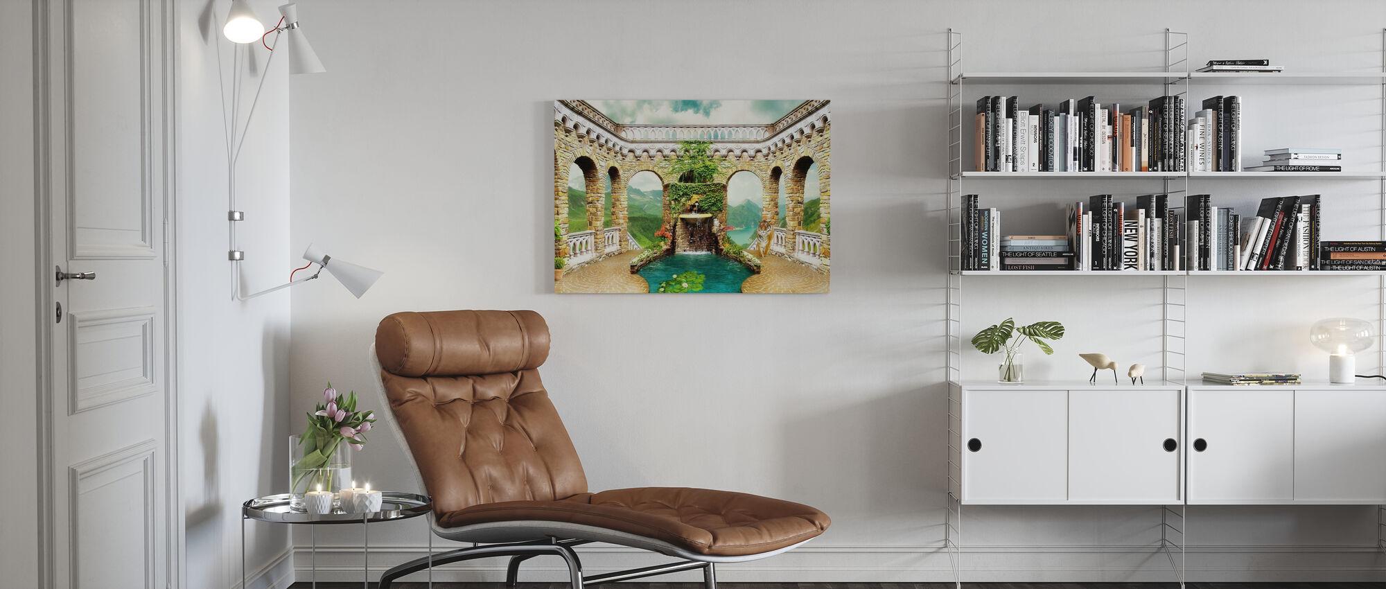 Exotische fontein - Canvas print - Woonkamer