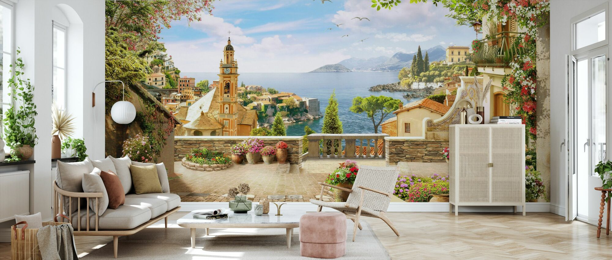 Stunning View of Amalfi - Wallpaper - Living Room