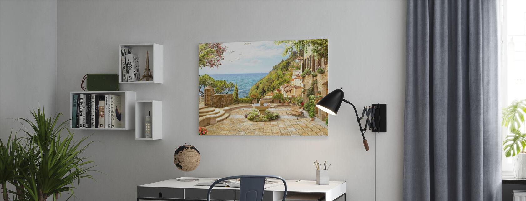 Vredig park aan zee - Canvas print - Kantoor