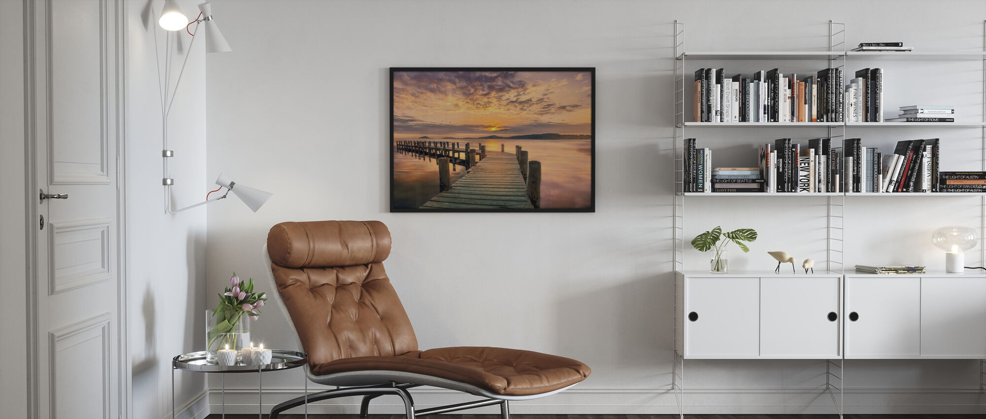 Pier i solnedgang - Plakat - Stue