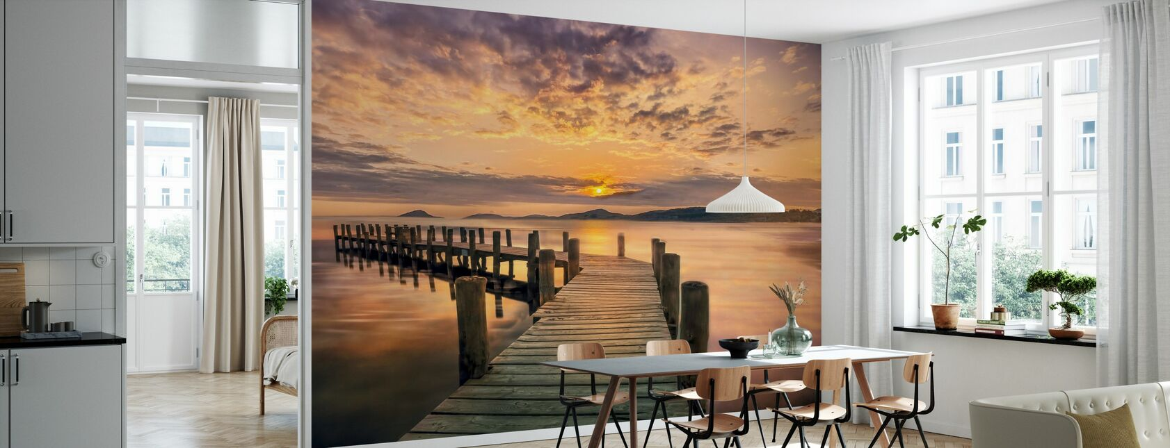 Pier in Sonnenuntergang - Tapete - Küchen
