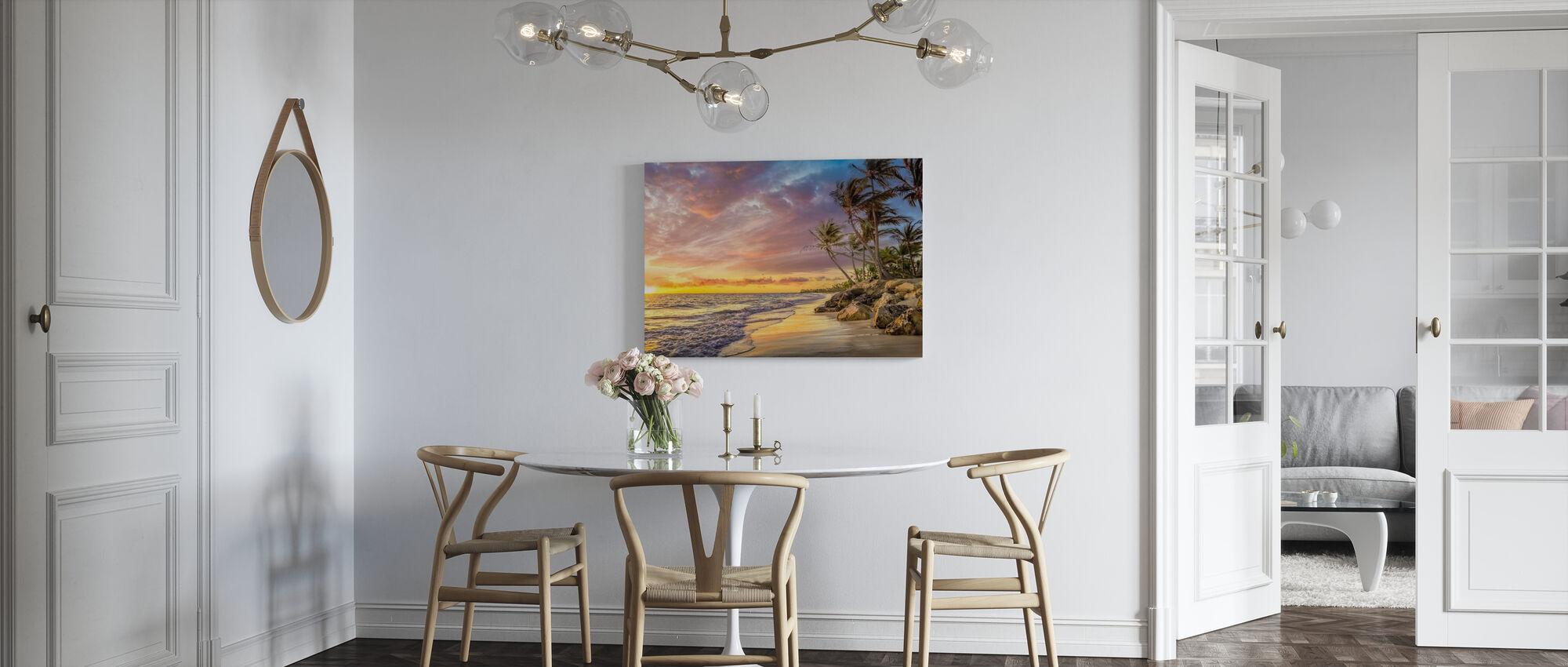Palm i solnedgången - Canvastavla - Kök