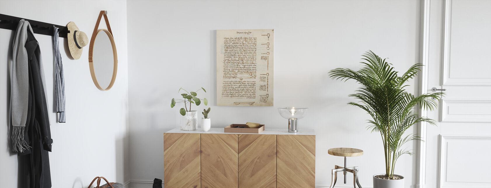 Statics and Mechanics - Leonardo Da Vinci - Canvas print - Hallway