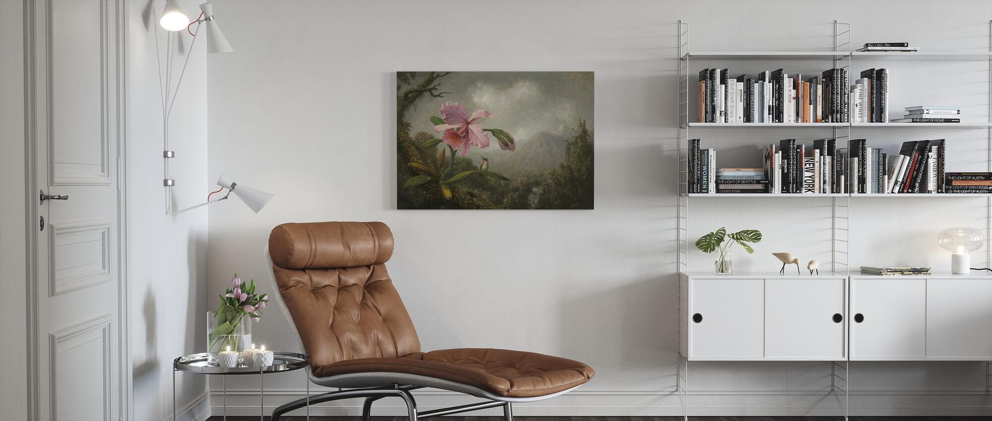 Orkidé og kolibri - Martin Johnson Heade - Billede på lærred - Stue