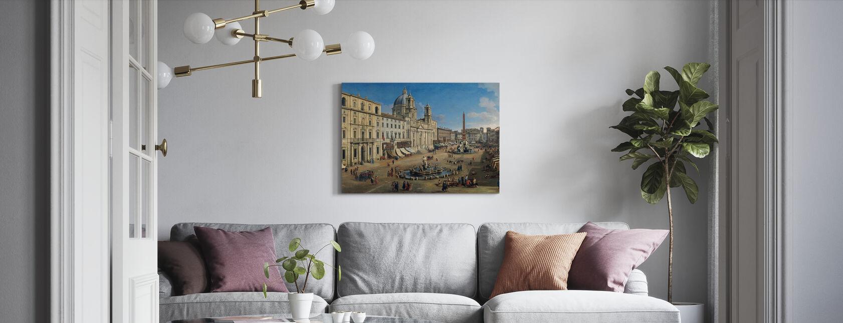 Piazza Navona - Gaspar Van Wittel - Canvastaulu - Olohuone