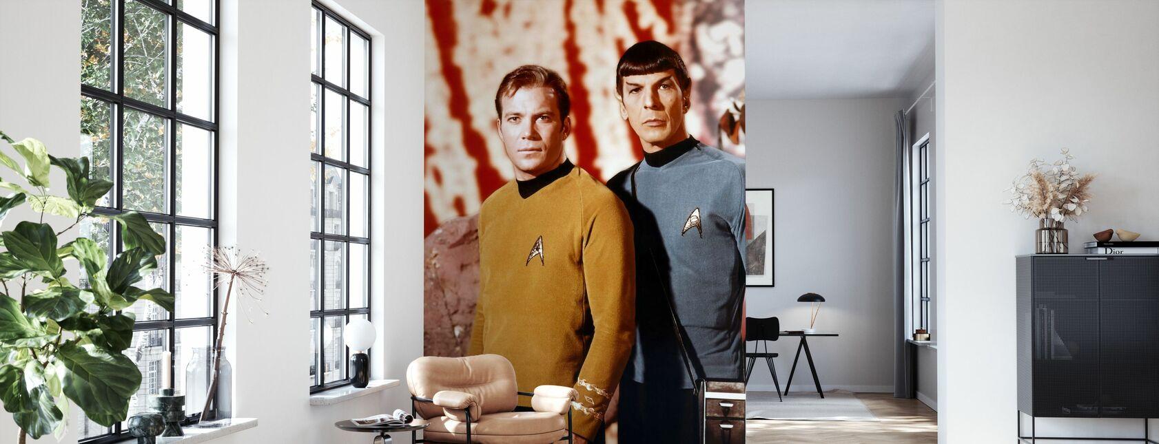Kirk och Spock - Leonard Nimoy och William Shatner - Tapet - Vardagsrum