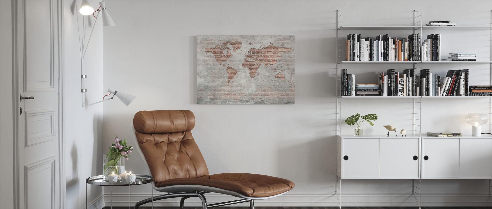 Mappa del mondo del muro di mattoni - Stampa su tela - Salotto