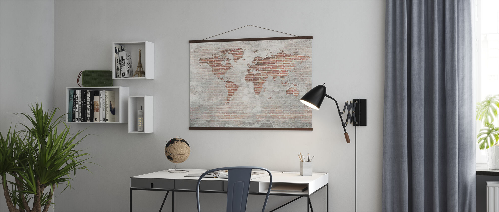 Brick Wall World Map - Poster - Office