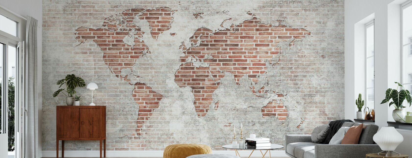 Brick Wall World Map - Wallpaper - Living Room