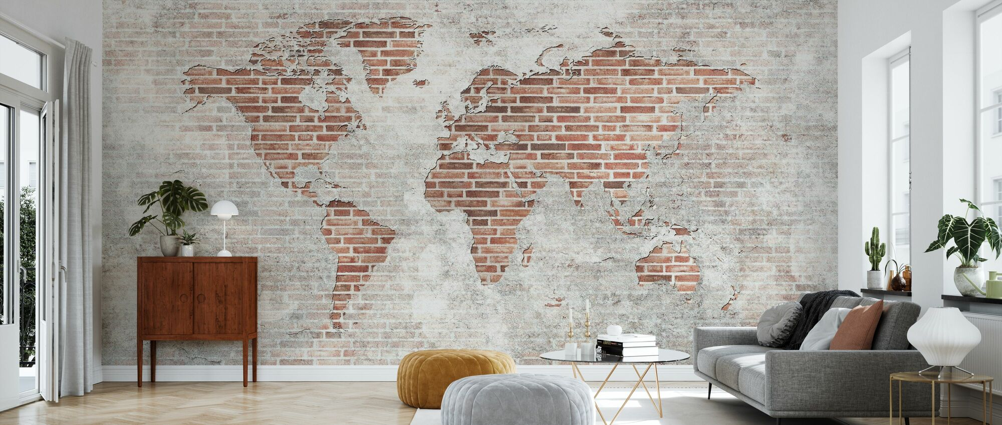 Brick Wall World Map - Wallpaper - Living Room