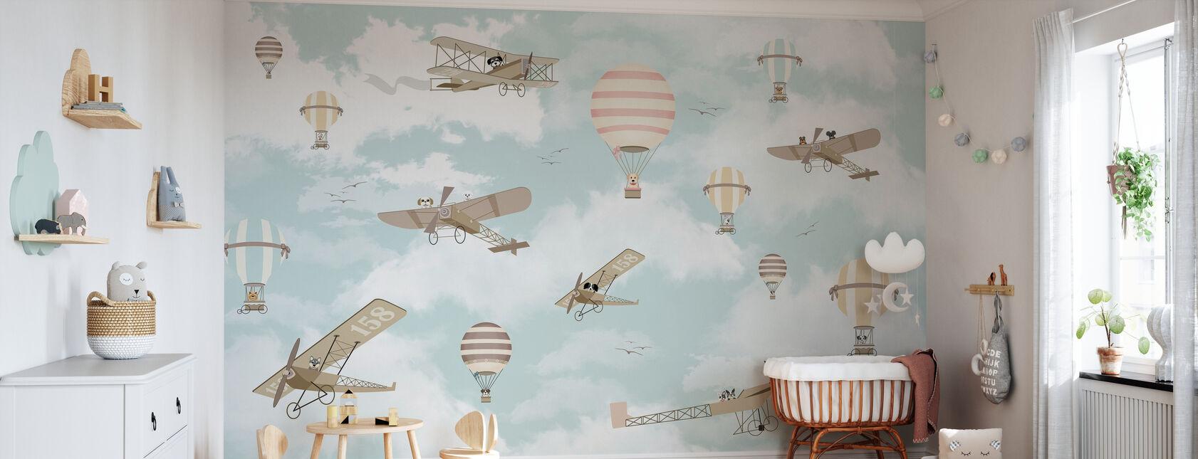 Vamos volar Perro Amigos - Papel pintado - Cuarto del bebé
