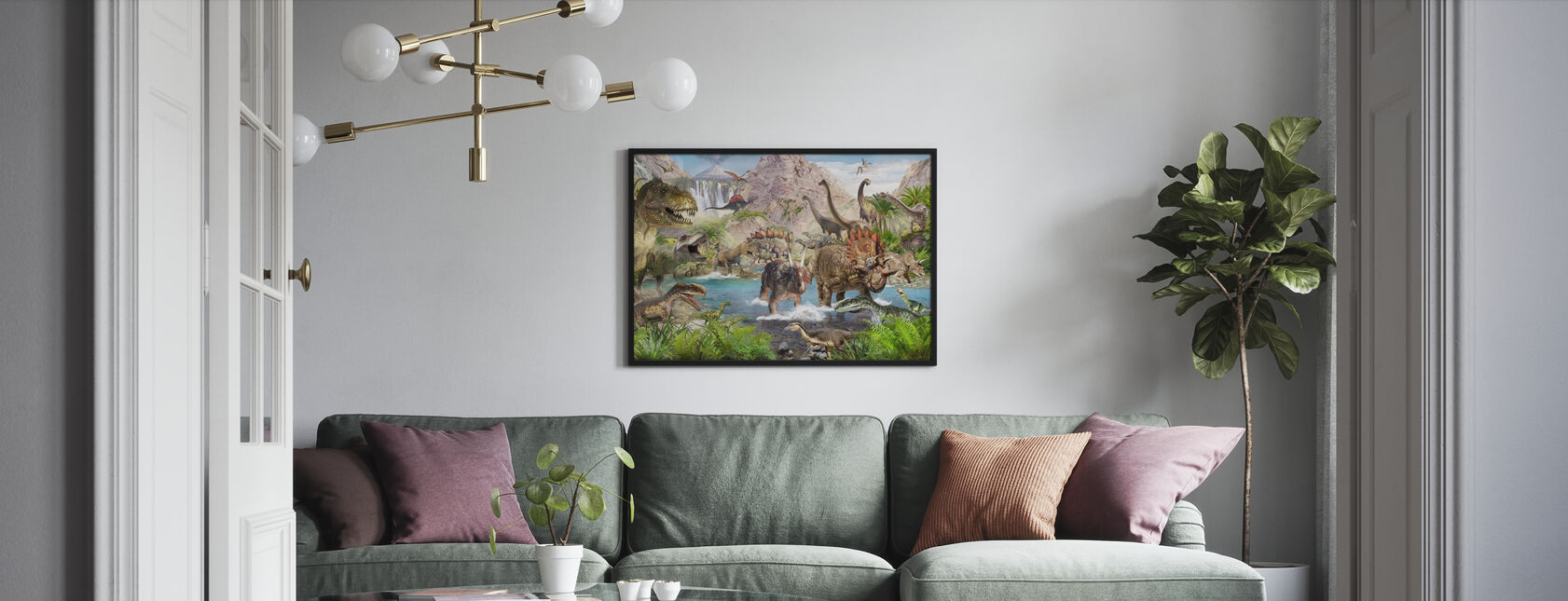 Dinosauruswereld - Ingelijste print - Woonkamer