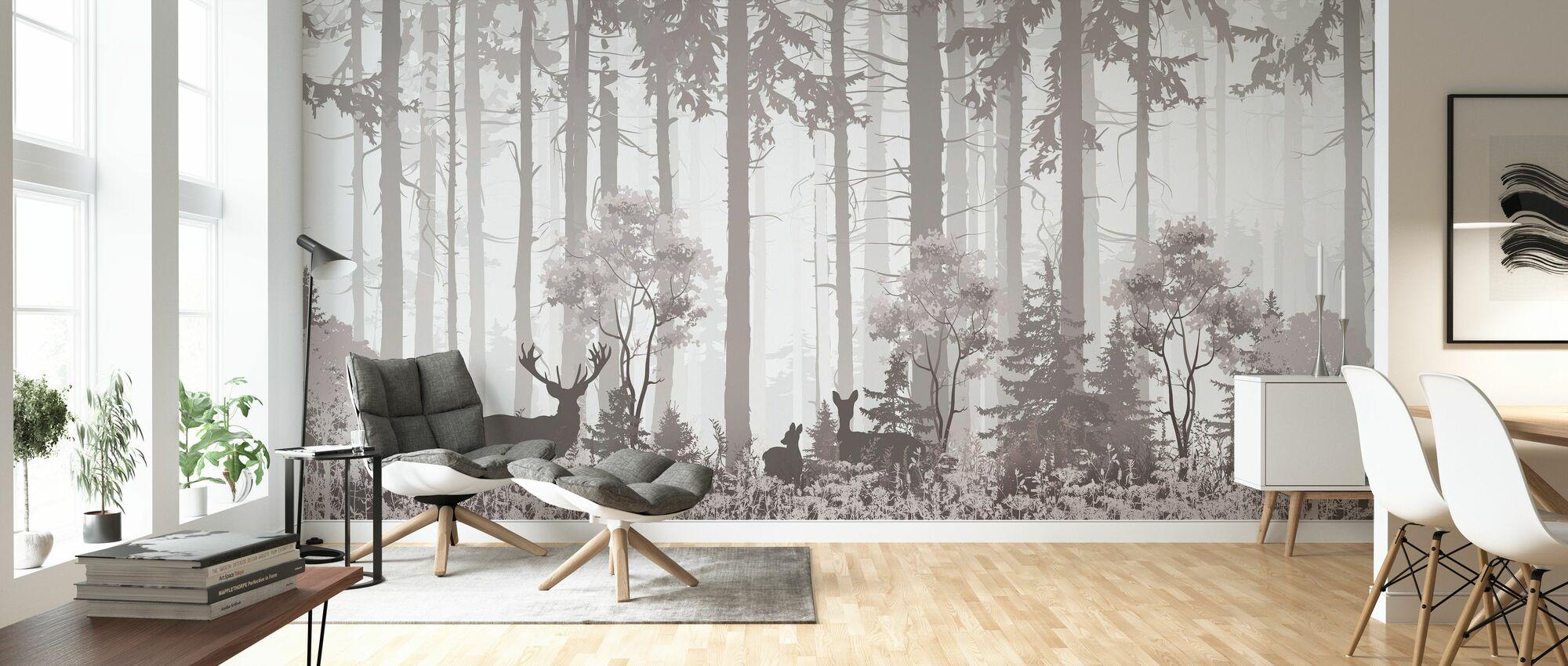 Metsä siluetteja - Tapetti - Olohuone