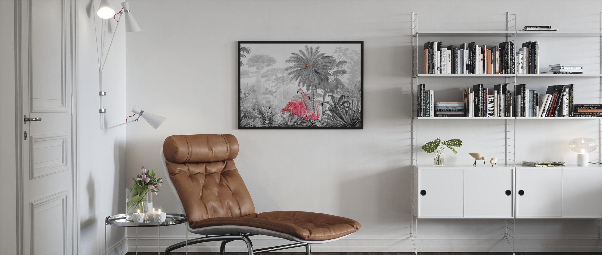 Tropische Flamingo's - Ingelijste print - Woonkamer
