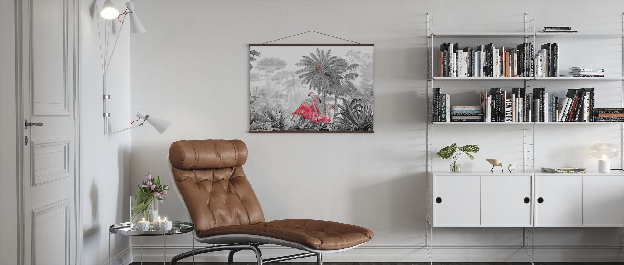 Tropische Flamingo's - Poster - Woonkamer
