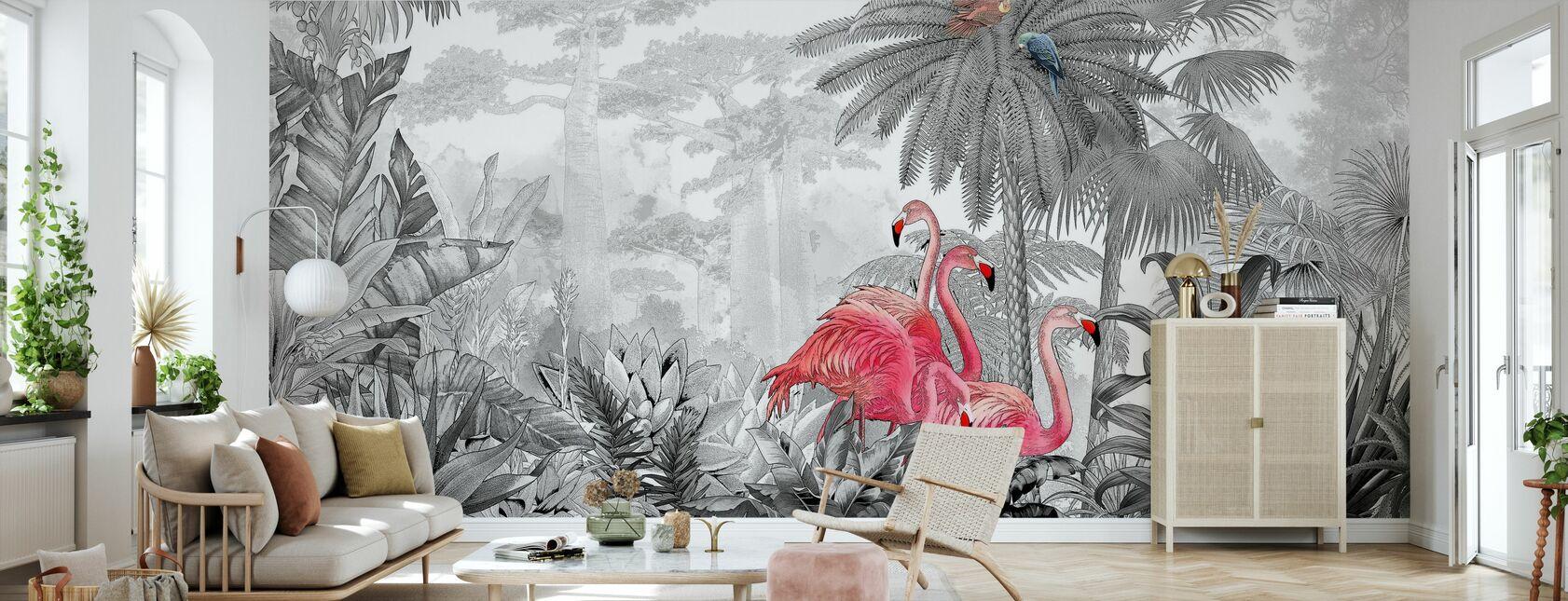 Tropische Flamingos - Tapete - Wohnzimmer