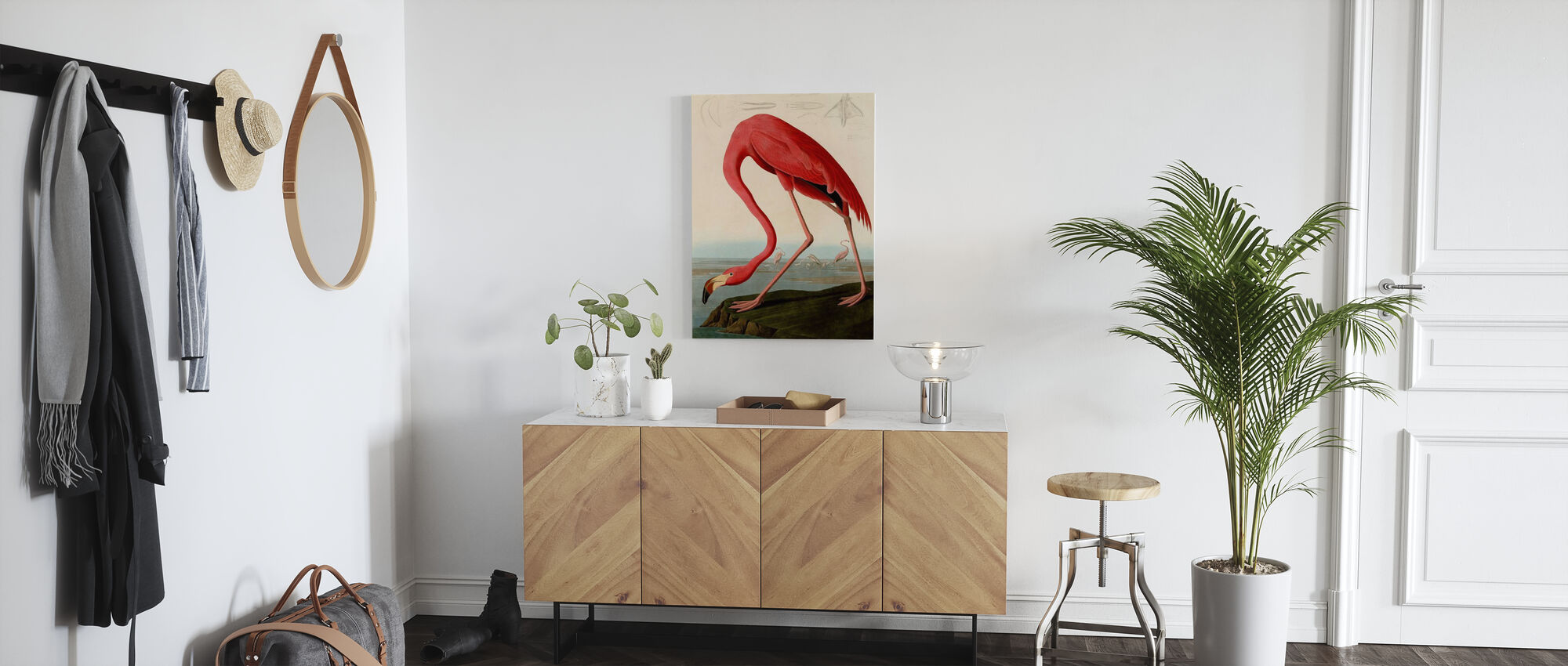 American Flamingo - John James Audubon - Canvas print - Hallway