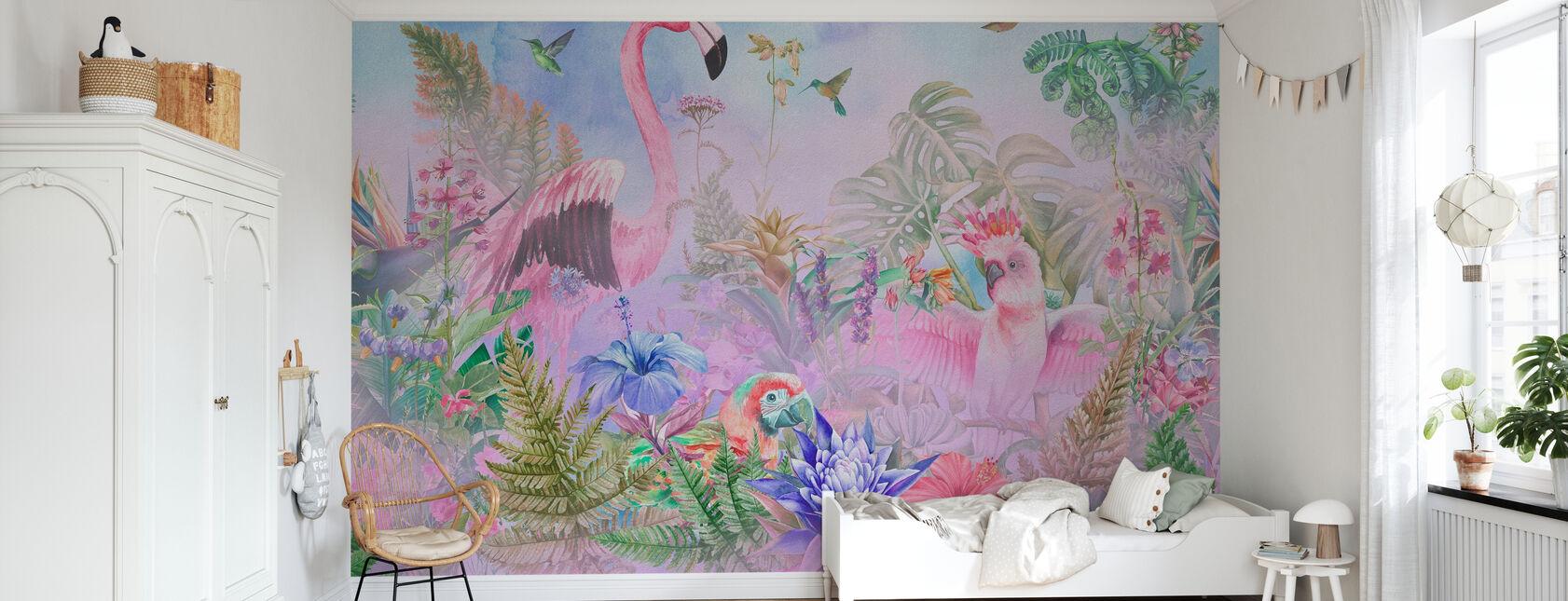 Kæmpe Flamingo - Tapet - Børneværelse