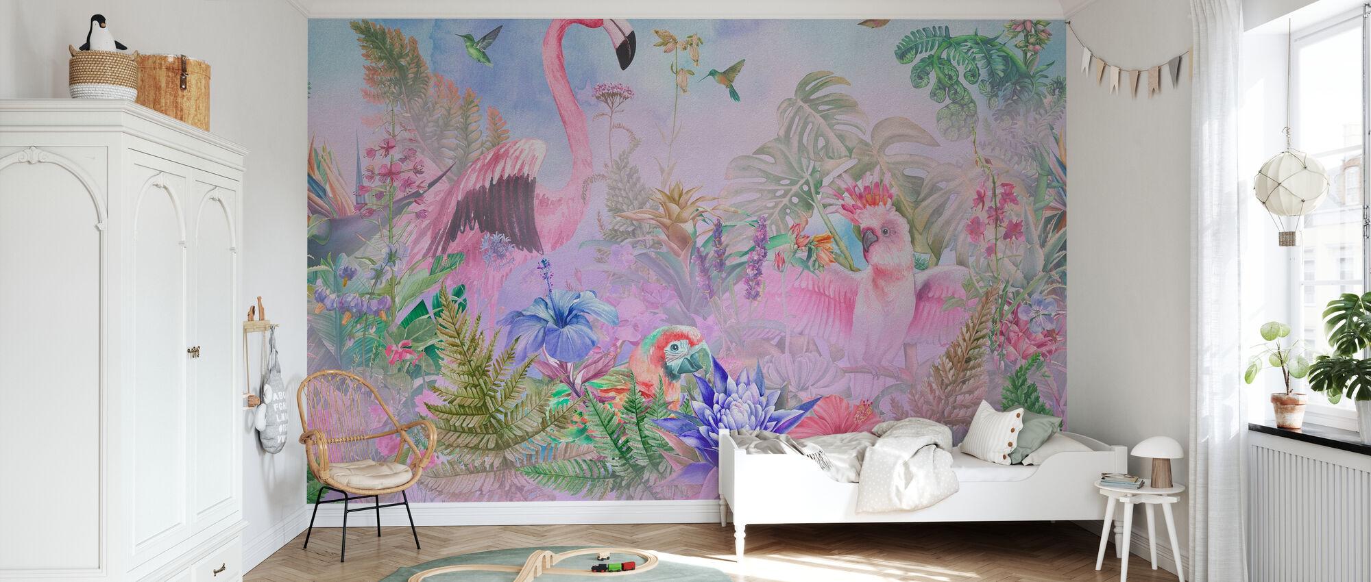 Riesiger Flamingo - Tapete - Kinderzimmer