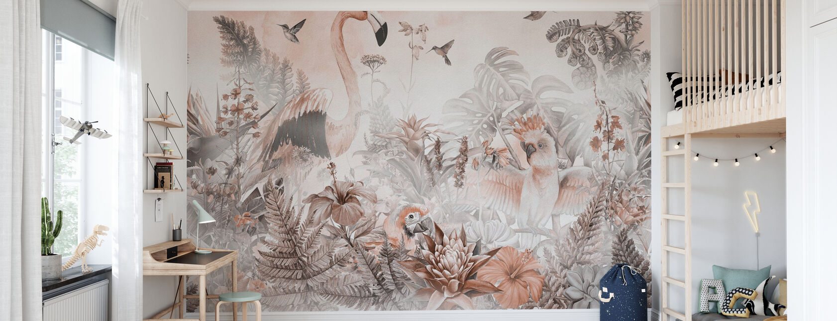 Giant Flamingo - Perzik - Behang - Kinderkamer