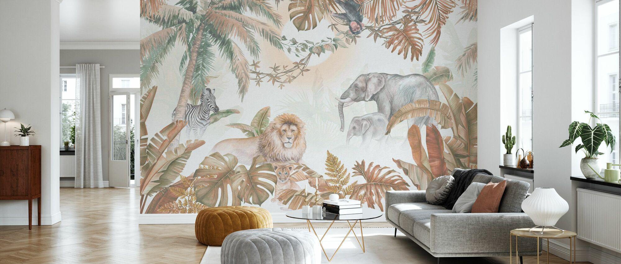 Dschungeltiere - Haselnuss - Tapete - Wohnzimmer