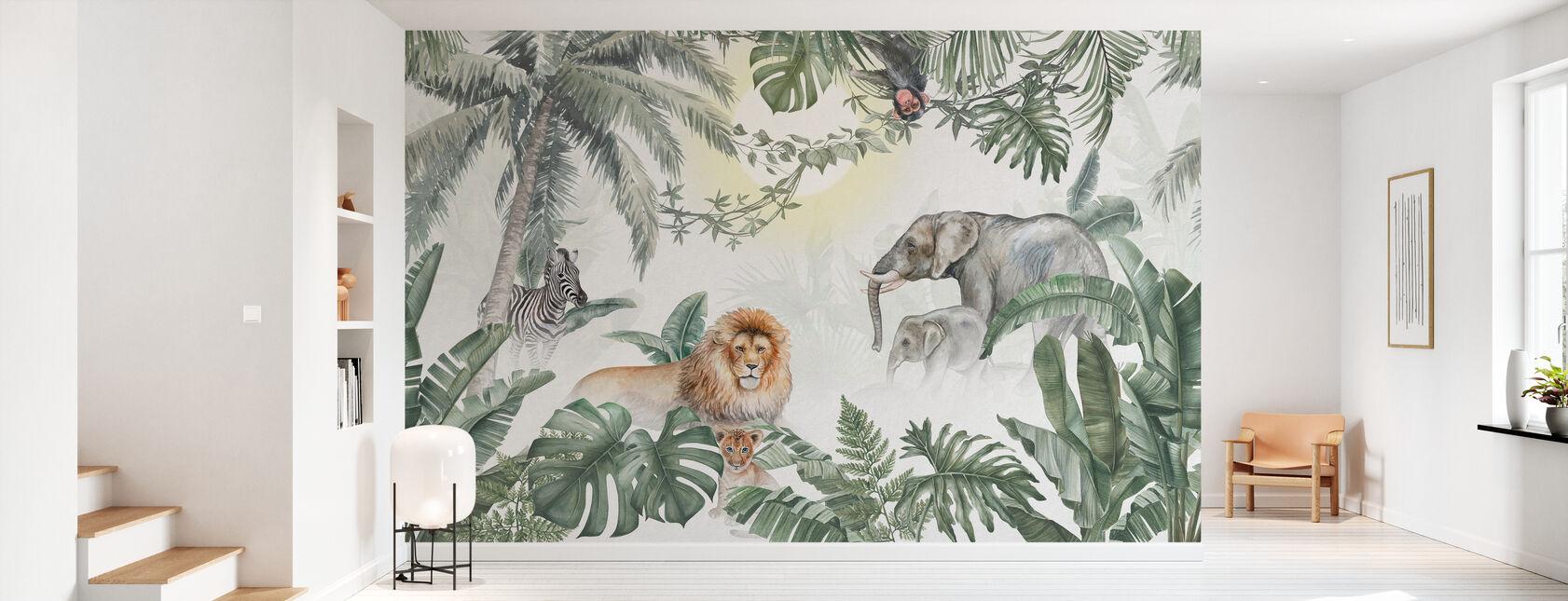 Jungle Animals - Olive - Wallpaper - Hallway