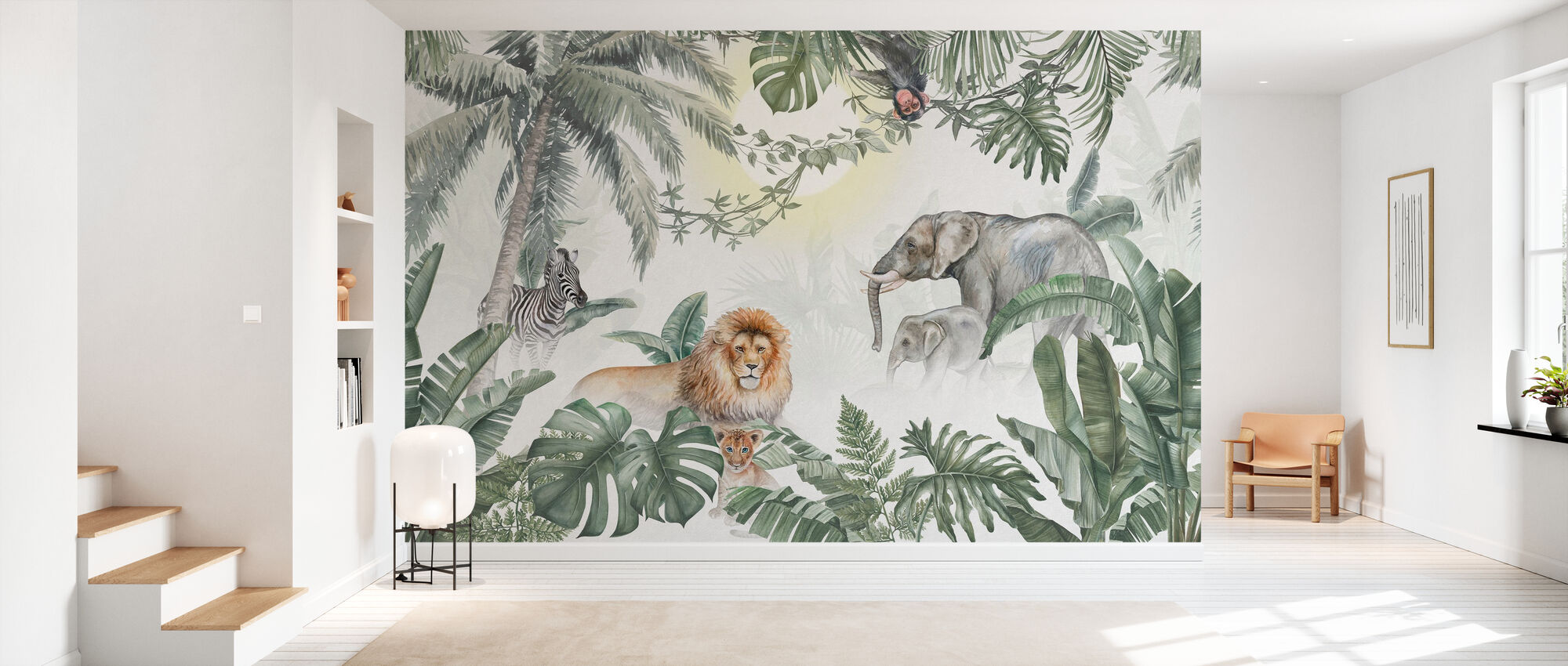 Jungle Animals - Olive - Wallpaper - Hallway