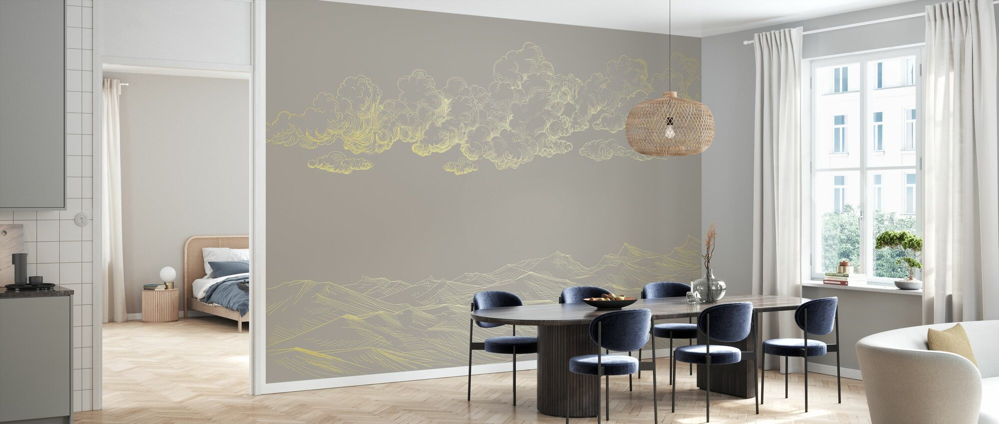 Between Clouds and Earth - Beige - Wallpaper - Kitchen