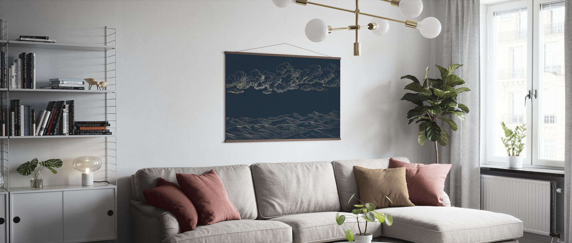 Between Clouds and Earth - Blue - Poster - Living Room