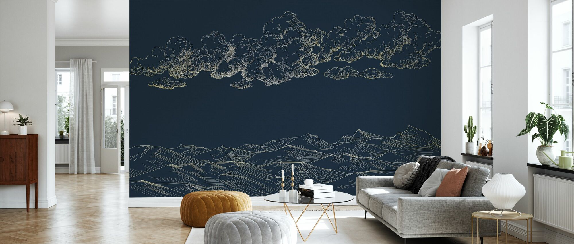 Between Clouds and Earth - Blue - Wallpaper - Living Room