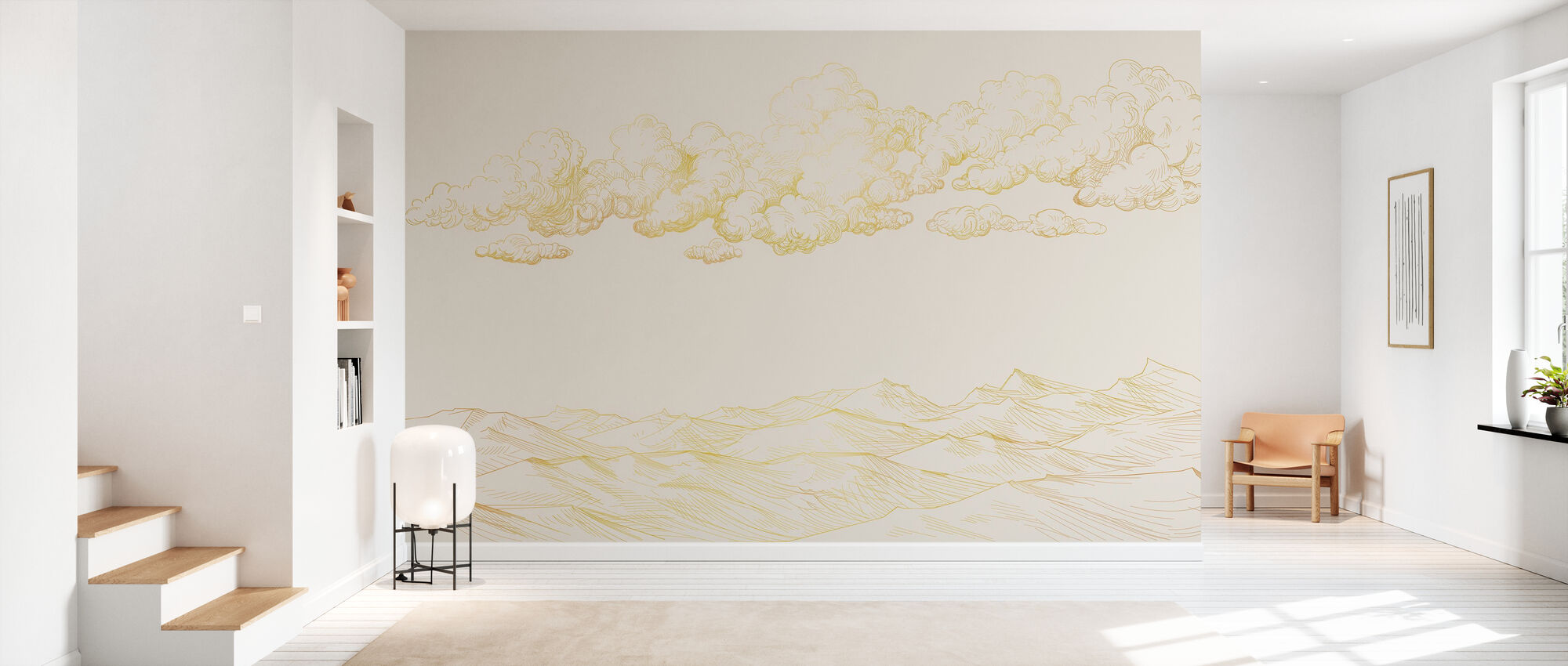 Between Clouds and Earth - Soft Beige - Wallpaper - Hallway