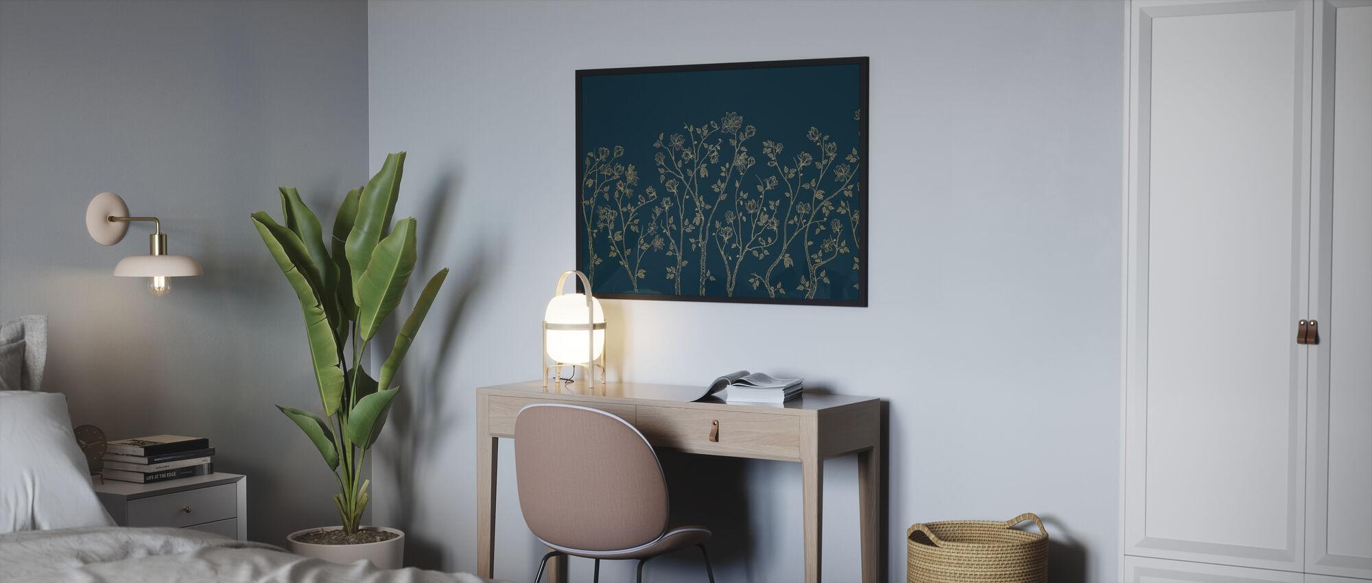 Crescent Vegetative - Blue - Poster - Bedroom