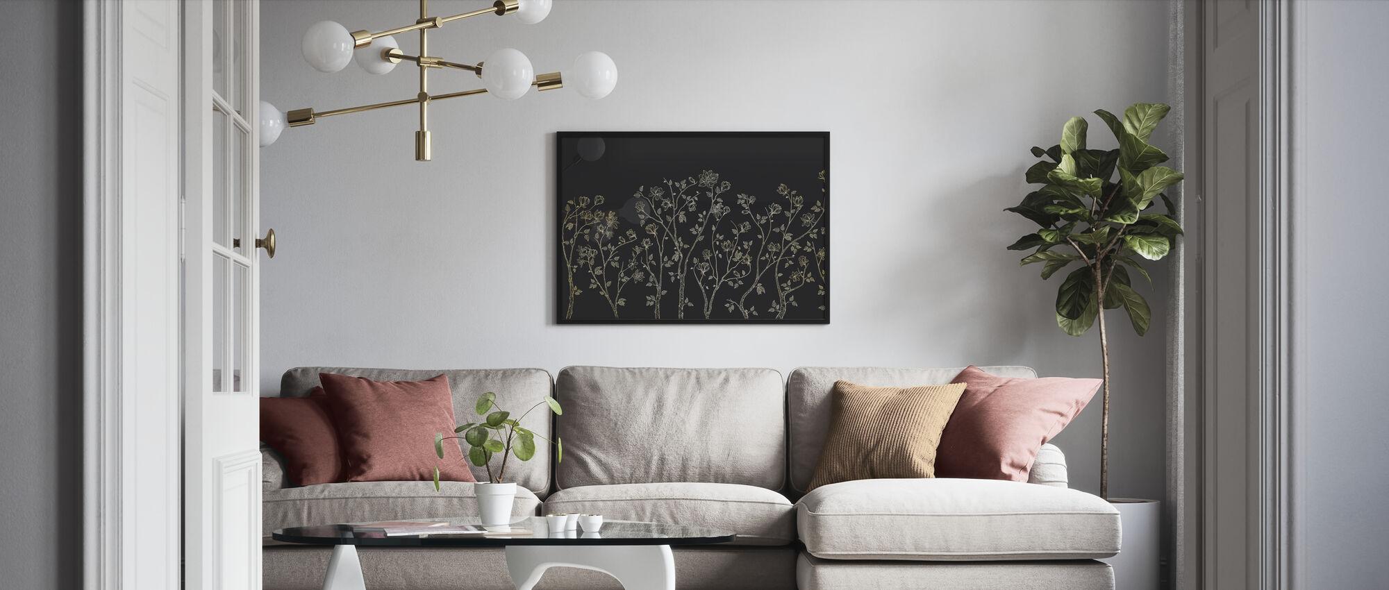 Crescent Vegetative - Dark Grey - Framed print - Living Room