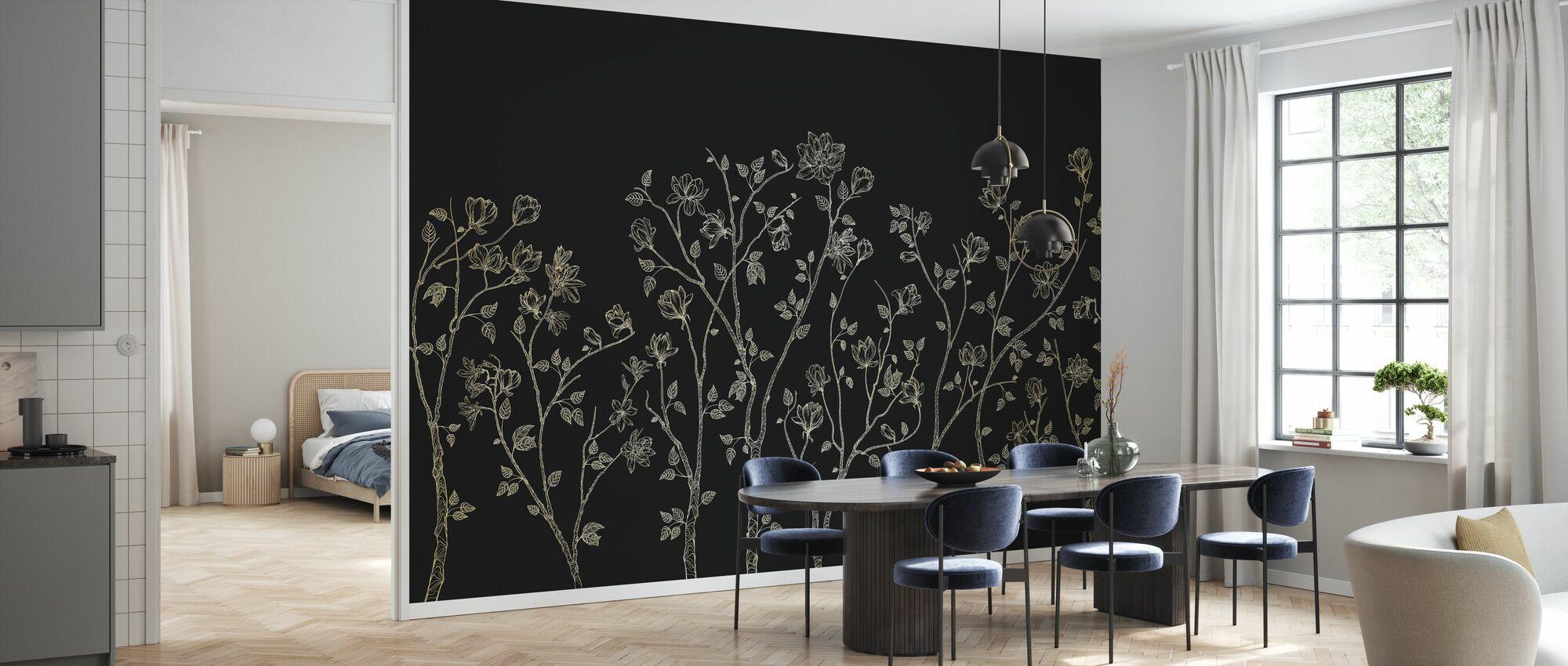 Crescent Vegetative - Dark Grey - Wallpaper - Kitchen
