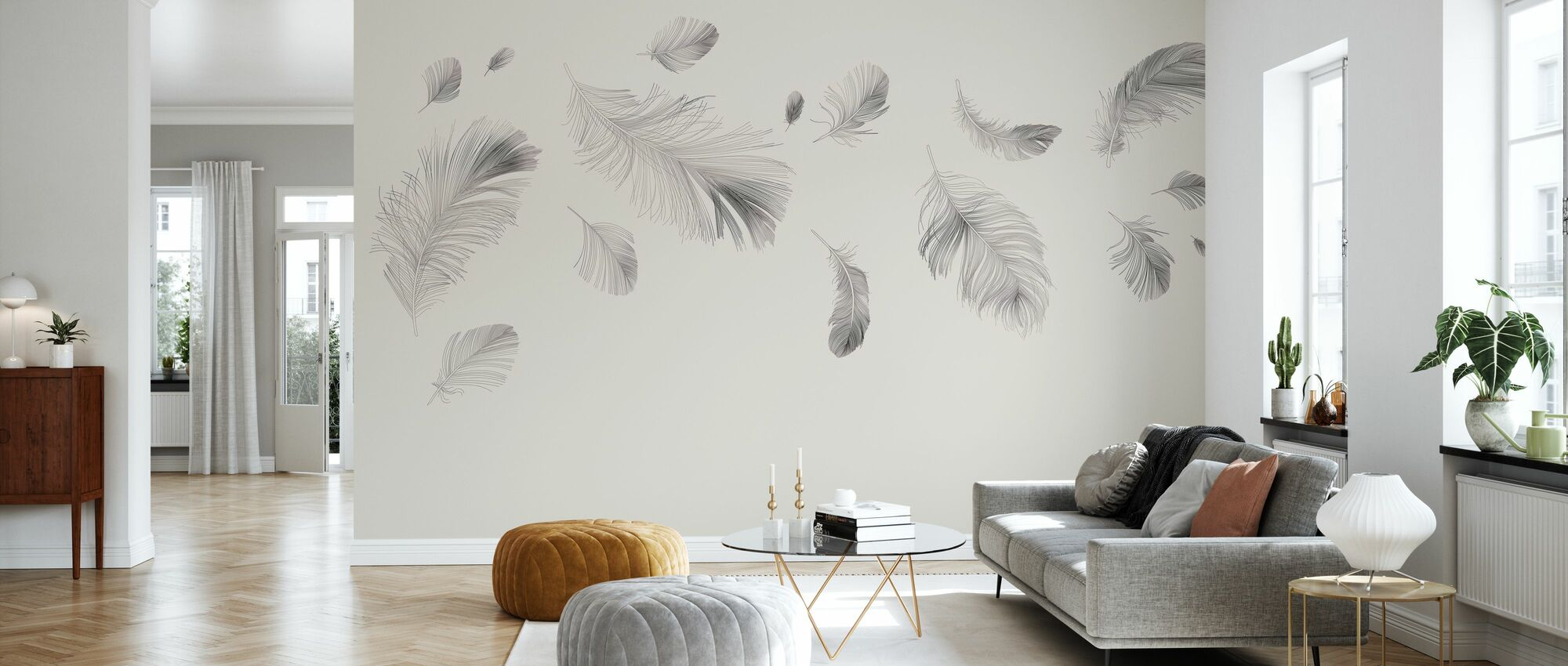 Flying Feathers - Beige - Wallpaper - Living Room