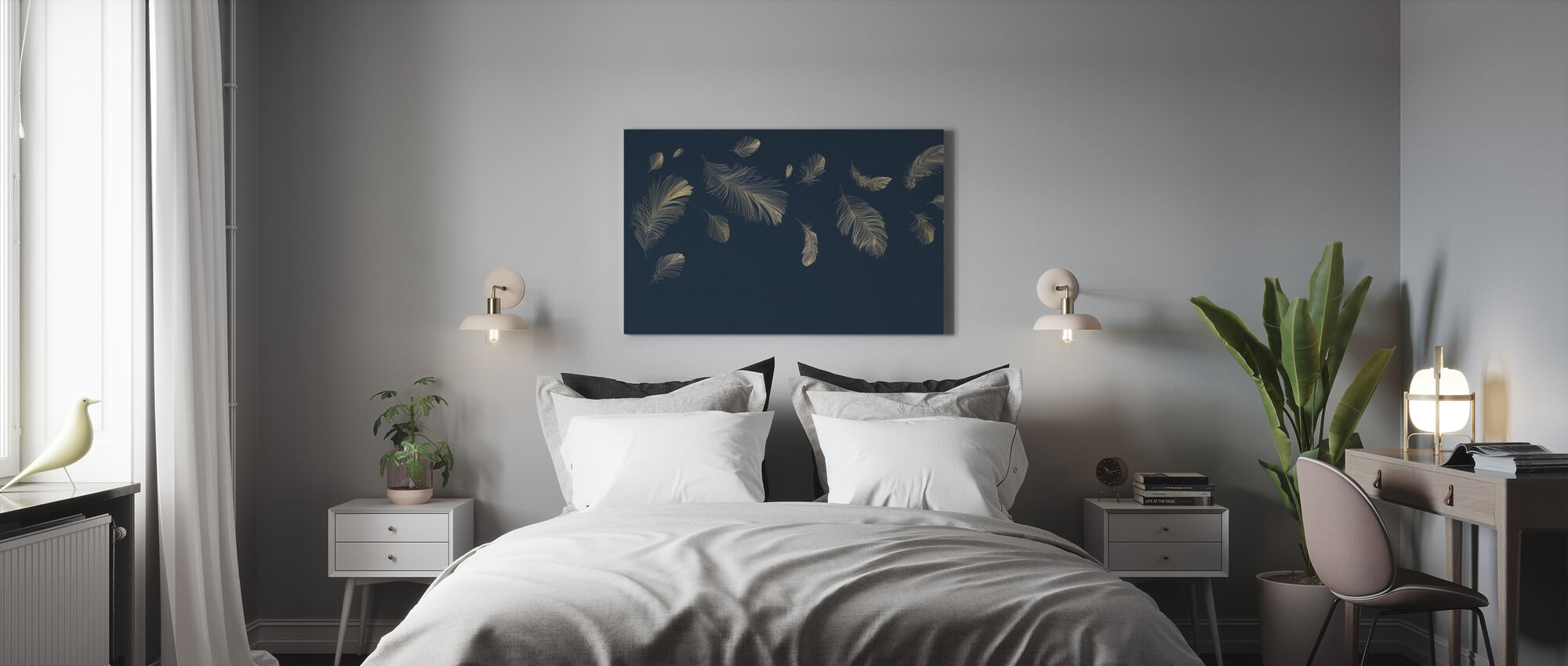 Flying Feathers - Blue - Canvas print - Bedroom