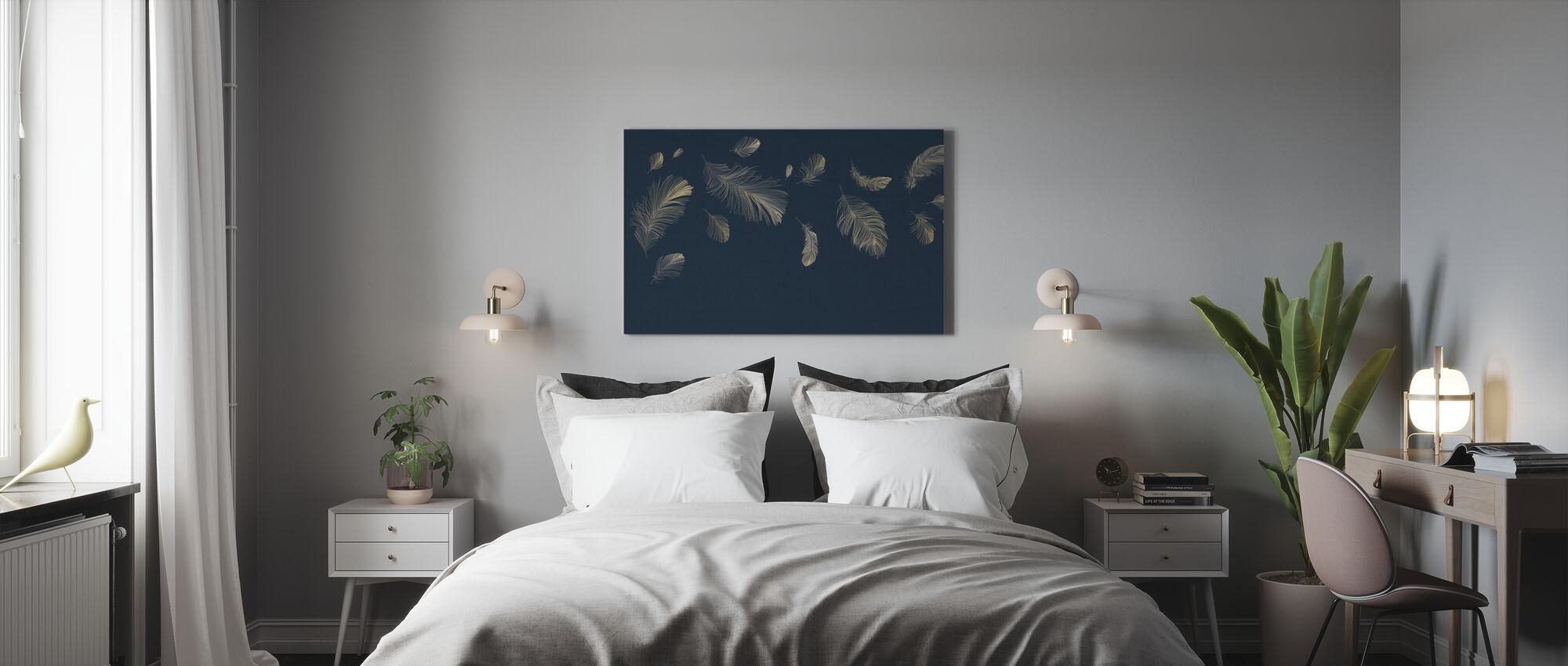Flyvende fjer - Blå - Billede på lærred - Soveværelse