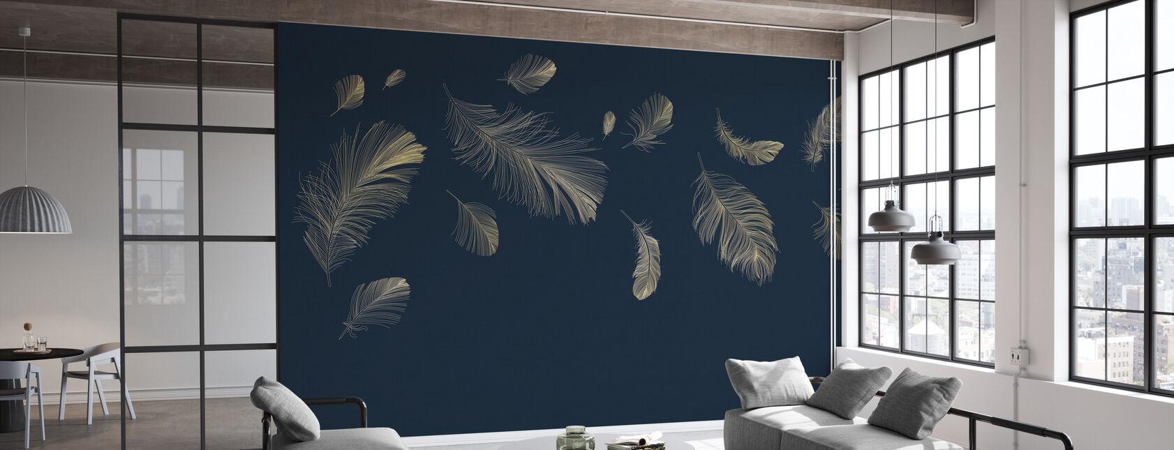Vliegende veren - Blauw - Behang - Kantoor