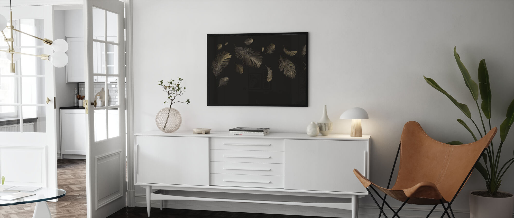 Flying Feathers - Brown - Poster - Living Room