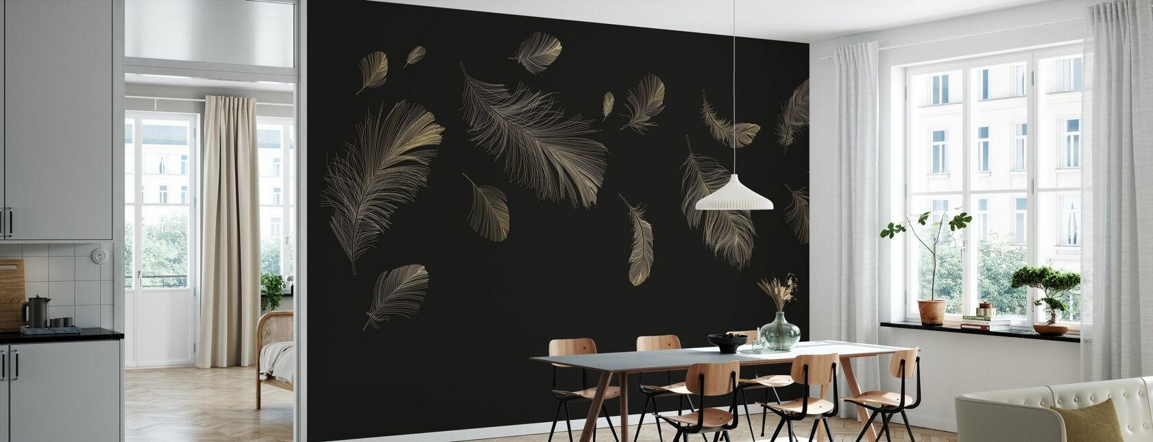 Flying Feathers - Brown - Wallpaper - Kitchen