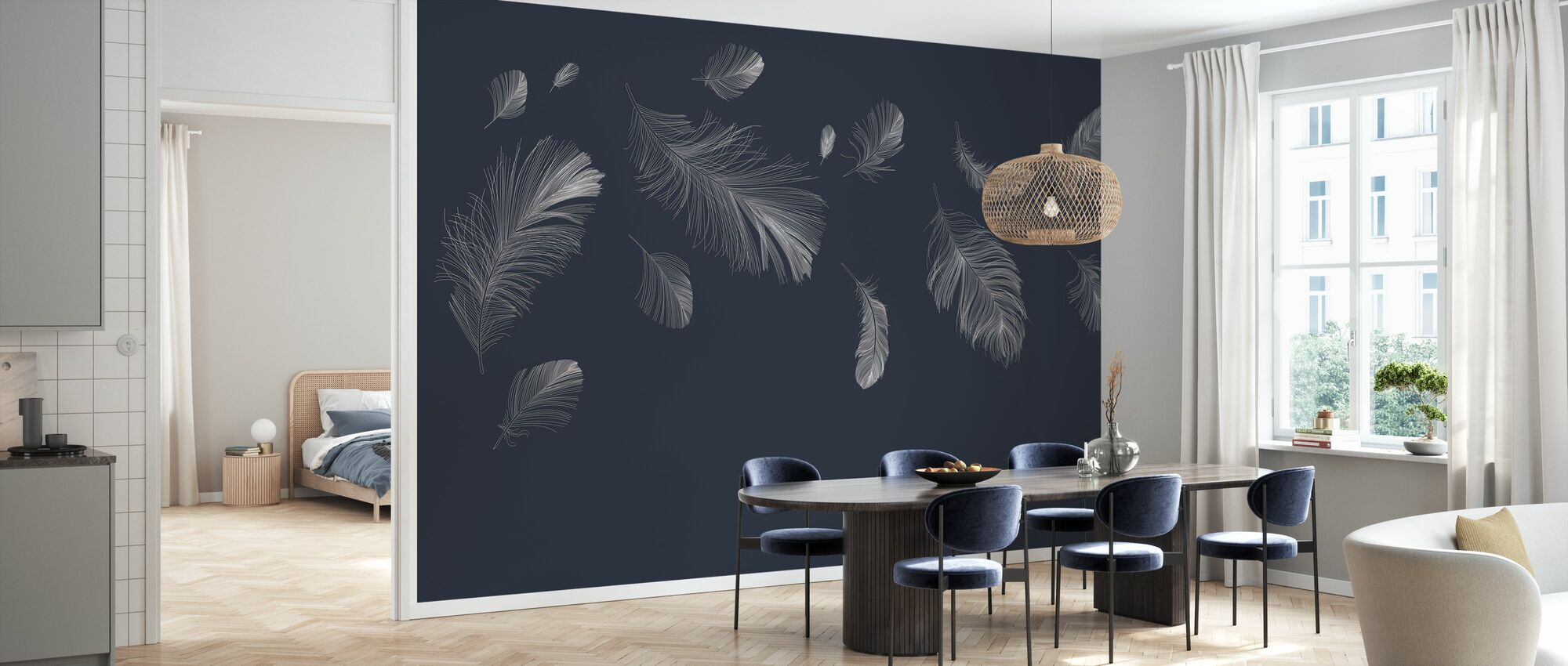 Flying Feathers - Dark Blue - Wallpaper - Kitchen