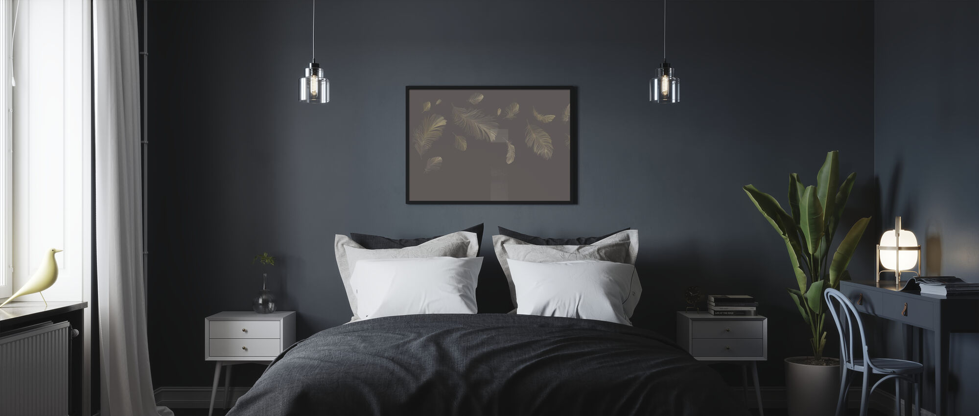 Flying Feathers - Grey - Poster - Bedroom