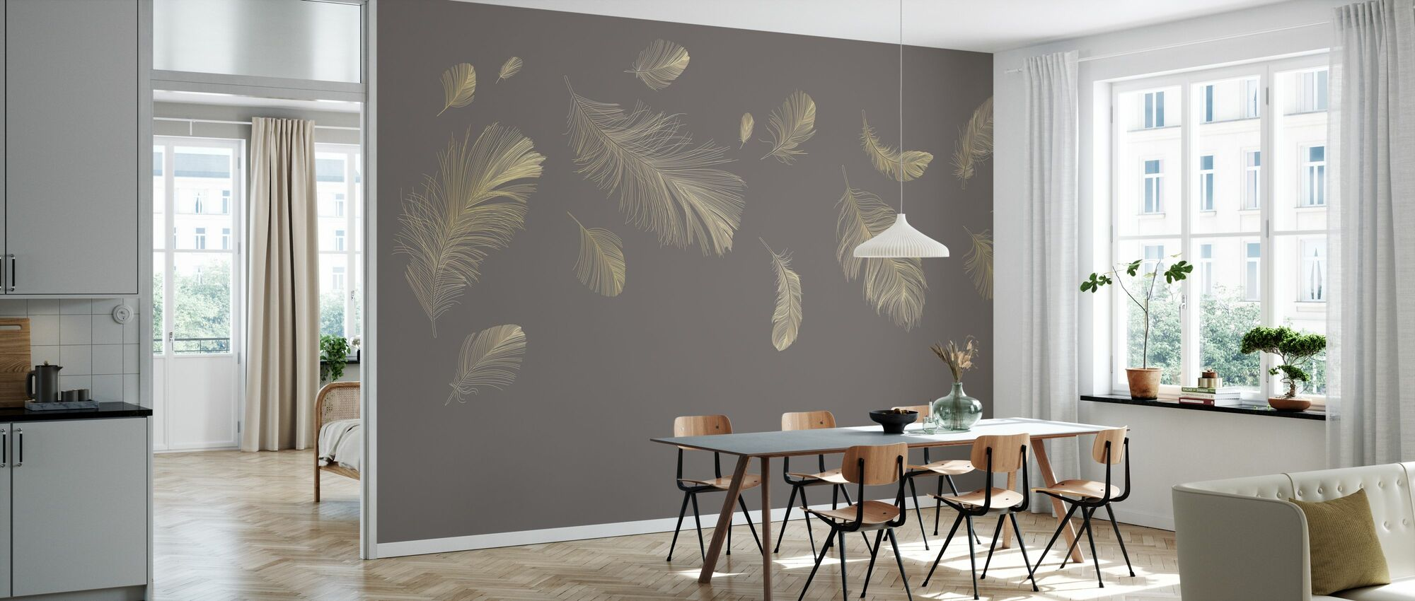 Flying Feathers - Grey - Wallpaper - Kitchen