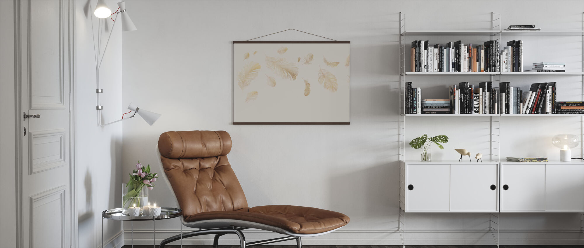 Flying Feathers - Soft Beige - Poster - Living Room