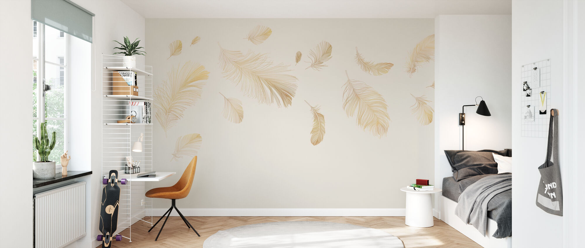 Flying Feathers - Soft Beige - Wallpaper - Kids Room