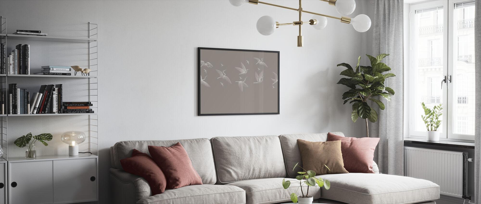 Where We Land - Beige - Framed print - Living Room