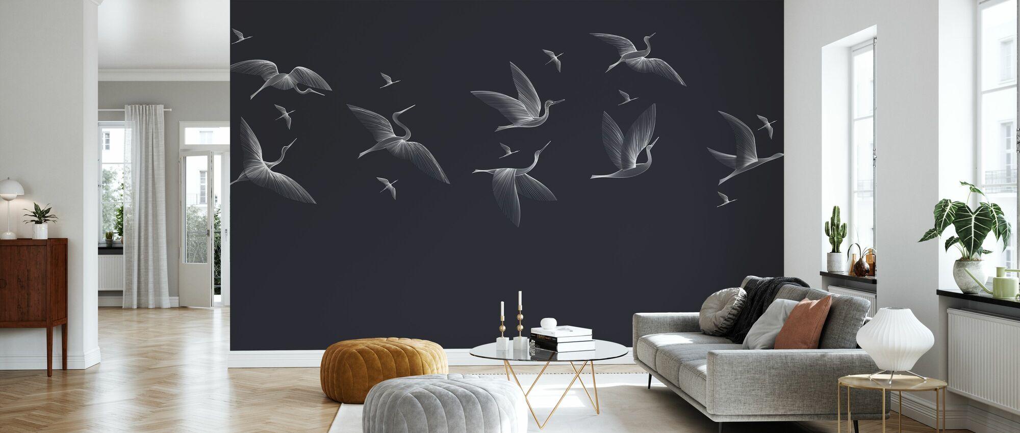 Where We Land - Blue - Wallpaper - Living Room