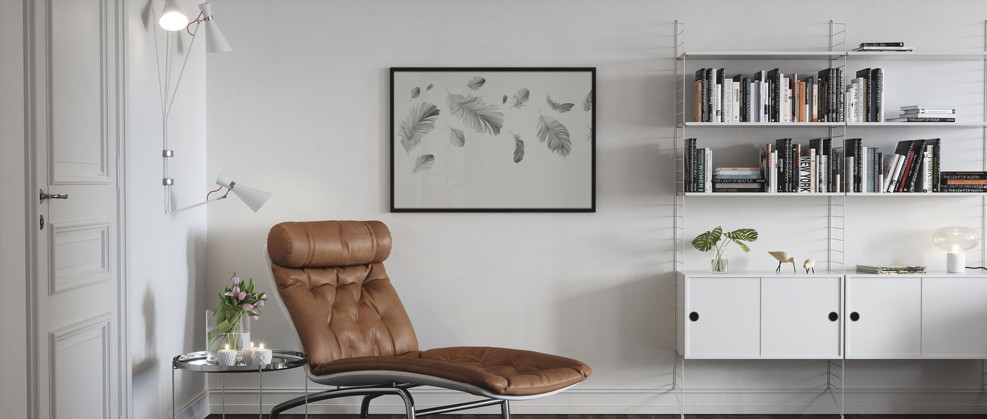 Flying Feathers - Bright - Poster - Living Room