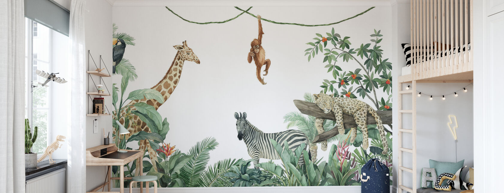 Jungle Vrienden - Behang - Kinderkamer